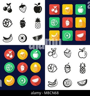 Fruit All in One Icons Black & White Color Flat Design Freehand Set - Stock Photo