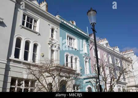 Victorian houses along Elgin Crescent W11 in Notting Hill, on 13th March 2018, in London, England. Elgin Crescent's - Stock Photo