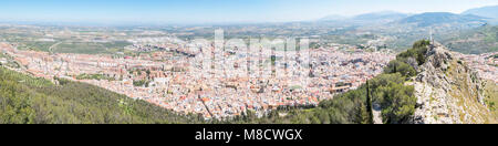 Panoramic Jaen city view from Santa Catalina Castle, Spain - Stock Photo