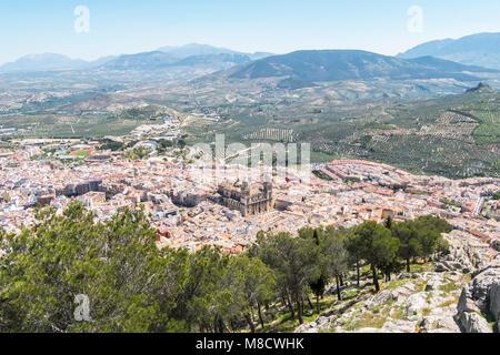 Jaen city view from Santa Catalina Cross view point, Spain - Stock Photo