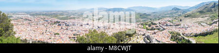 Jaen city panoramic view from Santa Catalina Cross view point, Spain - Stock Photo