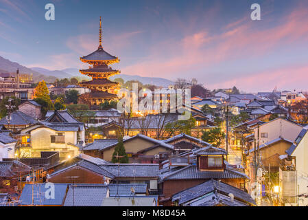 Kyoto, Japan old town skyline in the Higashiyama District. - Stock Photo