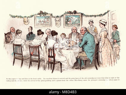 Victorian Illustration from The curmudgeons christmas by  Randolph Caldecott, 19th Century. Christmas dinner - Stock Photo