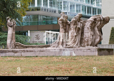 Geneva: the headquarters of the World Trade Organization and the 'Human Effort' by James Vibert - Stock Photo