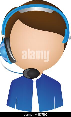 man call center with headphone - Stock Photo