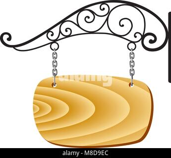 vector wooden signboard and metal decoration - Stock Photo