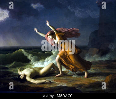 Hero and Leander by Jean Joseph TAILLASSON, 1745 -1809, France, French, ( Hero and Leander is the Greek myth relating - Stock Photo
