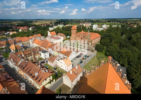 Top view of medieval town and castle from church tower, Reszel, Warmia, Poland - Stock Photo