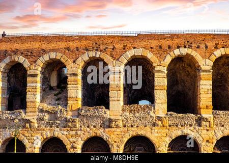 The beautiful roman amphitheater in the center of Verona, Italy - Stock Photo