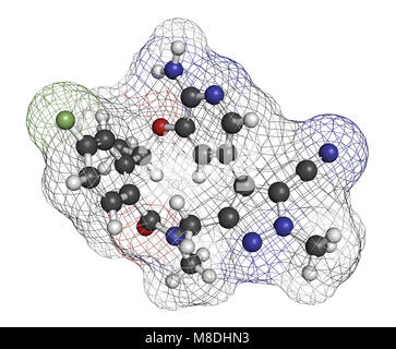 Lorlatinib cancer drug molecule. 3D rendering. Atoms are represented as spheres with conventional color coding: - Stock Photo