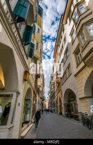 Portici Laubengasse in Bolzano, South Tyrol, Italy, Europe - Stock Photo