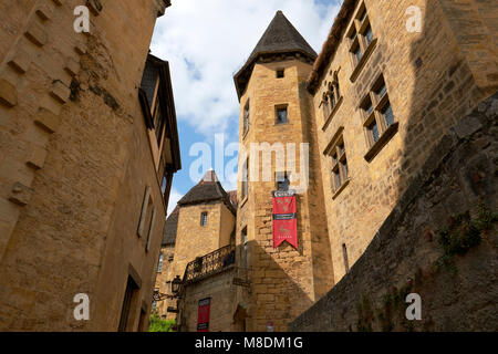 The Manoir de Gisson in the medieval town of Sarlat la Caneda in the Perigord Noir region of the Dordogne France.