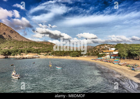 Fishing boats on sea in bay, Tarrafal, Cape Verde, Africa - Stock Photo