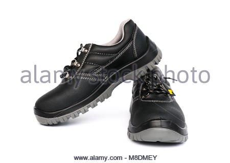 safety shoe black work boots on white background - Stock Photo