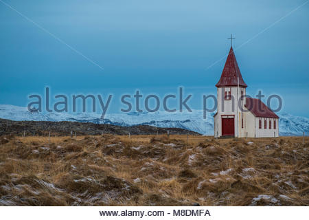 Abandoned church in frosty field, Budir, Snaefellsnes peninsula, Iceland, Europe - Stock Photo