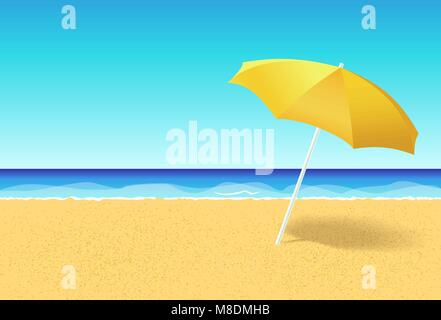 Beach umbrella on a deserted beach near ocean. Vacation flat vector concept. Empty beach without people with parasol - Stock Photo