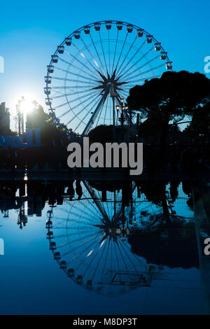 Ferris wheel In Dusk In Nice, Provence-Alpes-Côte d'Azur, France - Stock Photo