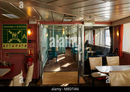 Passenger lounge area on board Caledonian MacBrayne ferry, 'Isle of Mull'. Route between Oban and Craignure, Mull - Stock Photo