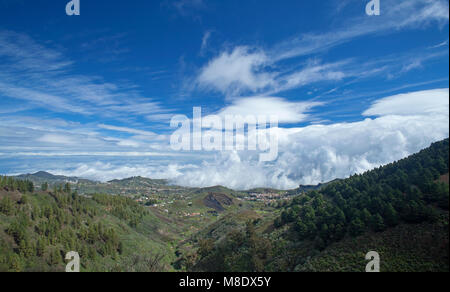 Gran Canaria, March 2018, view north east from Las Cumbres, the highest areas of the island, - Stock Photo