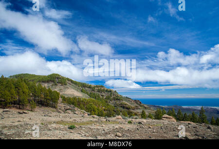 Gran Canaria, March 2018, view south hiking path in  from Las Cumbres, the highest areas of the island - Stock Photo