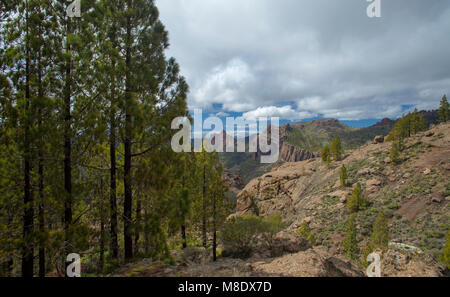 Gran Canaria, March 2018, view west from a hiking path towards Teide on Tenerife; north slope of Teide still has - Stock Photo