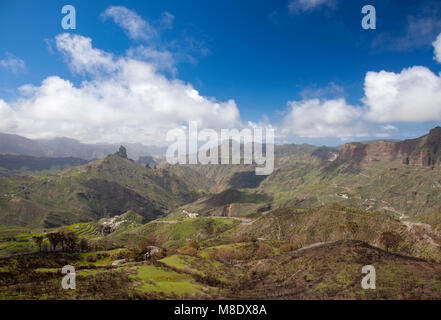 Gran Canaria, March 2018,  view across Caldera de Tejeda to Roque Bentayga - Stock Photo
