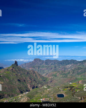 Gran Canaria, March 2018,  view across Caldera de Tejeda;  Roque Bentaygato the left, Teide on Tenerife visible - Stock Photo
