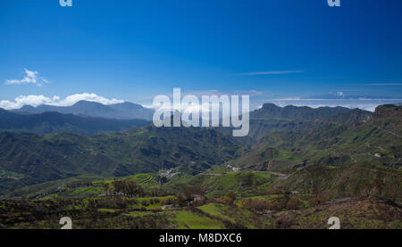 Gran Canaria, March 2018, view towards Roque Bentayga, the slopes show traces of wildfire - Stock Photo