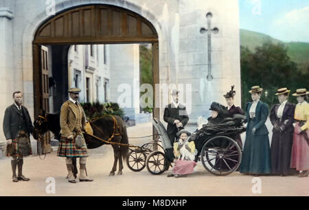 Queen Victoria and the Royal Party at Balmoral Castle, Victorian period - Stock Photo