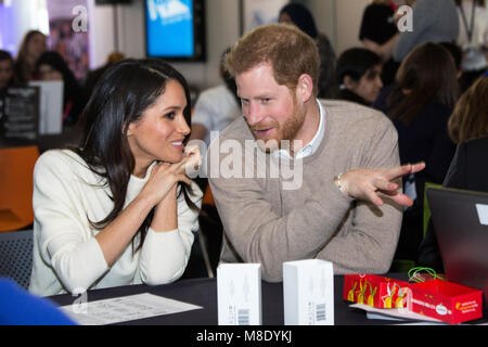 Megan Markle and Prince Harry visited Millennium Point in Birmingham on International Women's Day. The couple together - Stock Photo