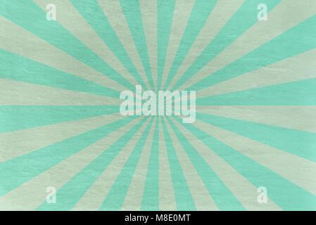 Aqua and mint green slate background - with retro starburst in alternating stripes - abstract pastel stone background - Stock Photo