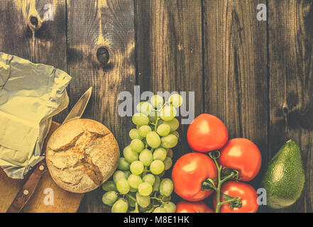 Healthy breakfast ingredients, vegetarian food, fruits and vegetables, view from above, copy space - Stock Photo