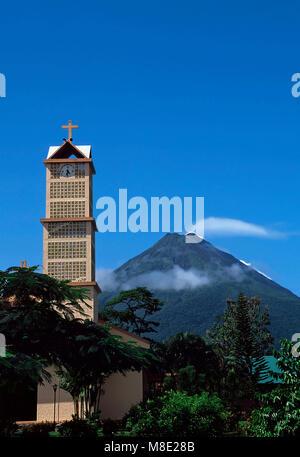 La Fortuna de San Carlos with Arenal Volcano in background,Costa Rica - Stock Photo