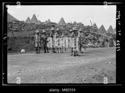 British Military Camp at klm. 41, Lubban-Nablus Rd. Troops of the Black Watch on Nablus Road LOC matpc.18719 - Stock Photo