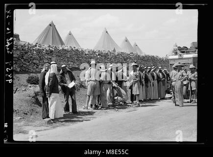British Military Camp at klm. 41, Lubban-Nablus Rd. Troops of the Black Watch searching Arabs at K. 41 camp LOC - Stock Photo
