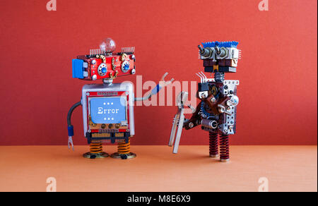 Robotic maintenance repair fix concept. IT specialist robot transformer with pliers, smiley face computer, error - Stock Photo