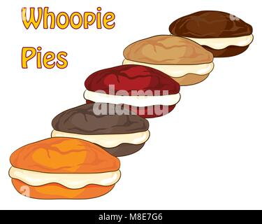 a vector illustration in eps format of varied whoopie pies on a white background with typeface in an advert format - Stock Photo