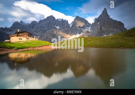 Baita Segabtini, Passo Rolle, San Martino di Castrozza Village, Trento district, Trentino Alto Adige, Italy - Stock Photo