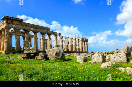 Archaeological park of Selinunte, Castelvetrano village, Marinella di Selinunte, Trapani district, Sicily, Italy - Stock Photo