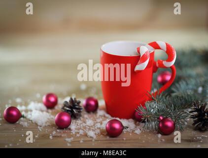 Christmas card. Christmas mug on Christmas background - Stock Photo