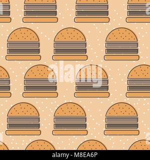 Burger line icon seamless vector pattern. Fast food outline tileable background - Stock Photo