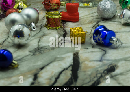 Christmas tree toys different colors balls copy space on a dark background, Christmas New Year holidays preparation - Stock Photo