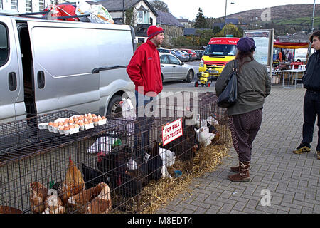 Bantry, West Cork, Ireland. 16th March, 2018. Bantry market on every friday was doing brisk business in the afternoon - Stock Photo