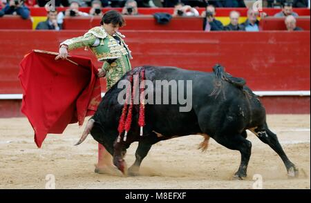 Valencia, Spain. 16th Mar, 2018. Peruvian bullfighter Andres Roca Rey in action during a bullfight at the Fallas - Stock Photo