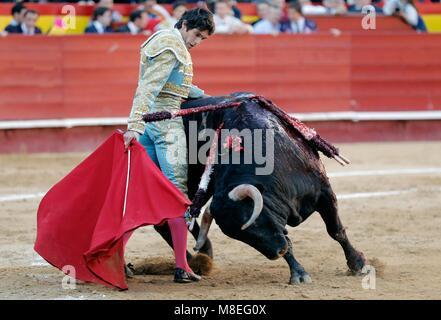 Valencia, Spain. 16th Mar, 2018. French bullfighter Sebastian Castella in action during his bullfight at the Fallas - Stock Photo