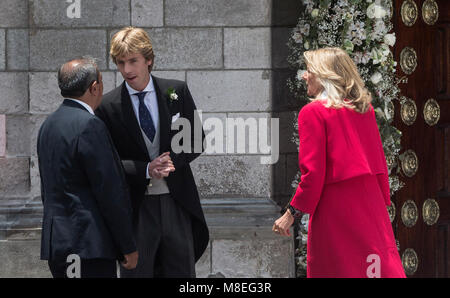 16 March 2018, Peru, Lima: Prince Christian of Hanover (2-L) and his mother Chantal Hochuli (R) arrive at the church - Stock Photo
