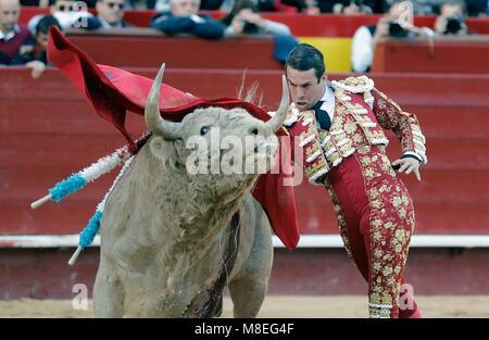 Valencia, Spain. 16th Mar, 2018. Spanish bullfighter Jose Maria Manzanares in action during his bullfight at the - Stock Photo