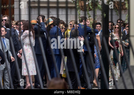 16 March 2018, Peru, Lima: Guests congratulate Prince Christian of Hanover at the entrance of the Basilika San Pedro - Stock Photo