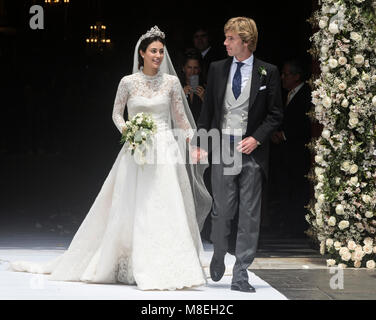 16 March 2018, Peru, Lima: Prince Christian of Hanover (R) and Alessandra de Osma exit the church after their wedding - Stock Photo