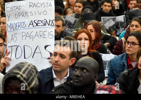 Barcelona, Spain. 16th Mar, 2018. Protesters seen holding placards during a demonstration in memory of Mame Mbaye.Mame - Stock Photo